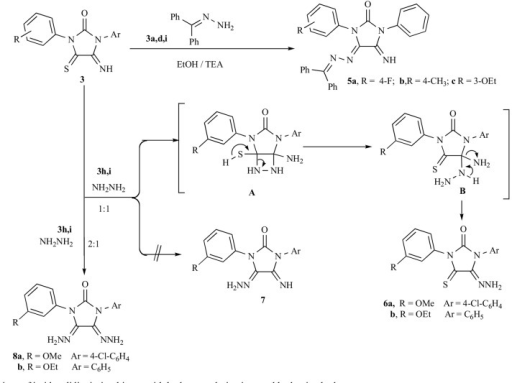 Reactions of imidazolidineiminothiones with hydrazone derivatives and hydrazine hydrate.