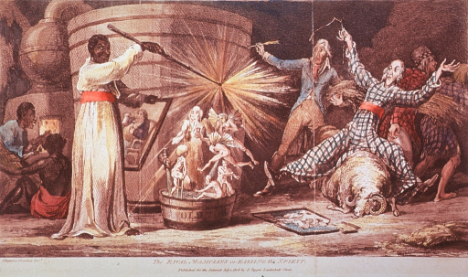 <p>Huge distillation apparatus; blacks, representing the West Indies, distill sugar and molasses; at right representatives of agriculture, holding corn and barley, fall back in fear; spirits representing the affects of alcohol pour from a large vat.</p>