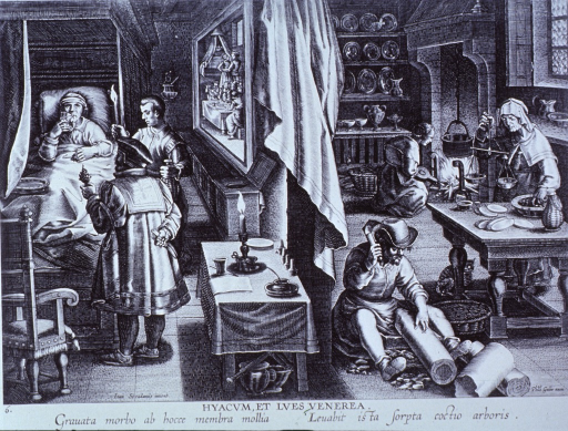 <p>Five persons in various stages of preparing guaiac for a syphilitic patient in bed.</p>