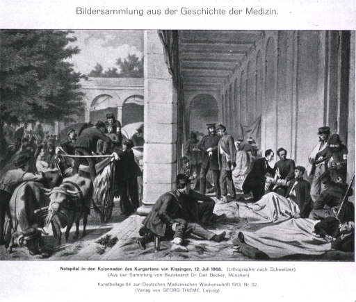 <p>Emergency field hospital showing treatment of war casualties.</p>