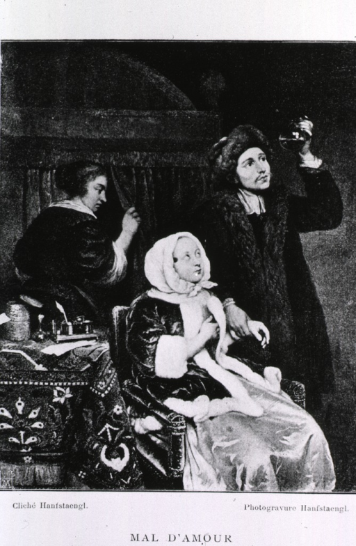 <p>A young woman looks up at her suitor, disguised as a doctor, who peers at a urine specimen in a flask.  Gerard Dou's &quot;Mal d'Amour&quot;, 17th century.</p>
