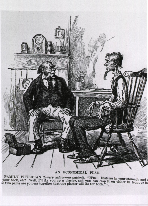 <p>An economical plan.  Caricature showing a physician prescribing a [mustard?] plaster.</p>
