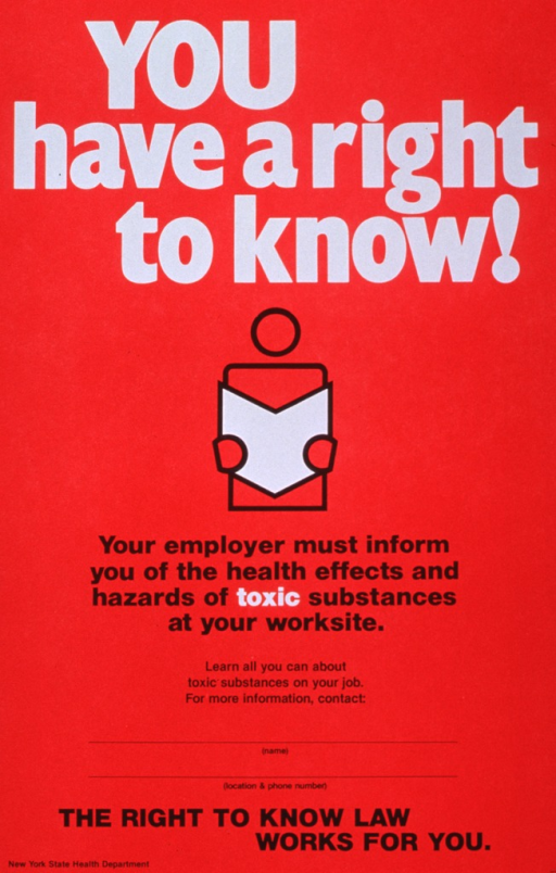 <p>Red poster with white and black lettering.  Title at top of poster.  Visual image is an abstract illustration of a person reading a book.  Caption below image.  Space on poster to provide specific local contact information (none included).  Note at bottom of poster.</p>