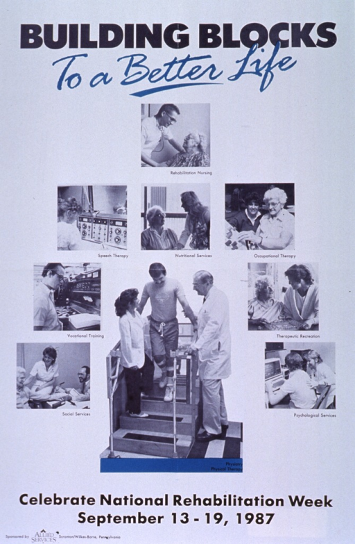 <p>White poster with black and teal lettering.  Title at top of poster.  Visual images are reproductions of b&amp;w photos showing a variety of rehabilitation services.  Photos for rehabilitation nursing, nutritional services, therapeutic recreation, and social services simply show health personnel interacting with patients.  Photos for speech therapy, vocational training, psychological services, occupational therapy, and physical therapy feature both human interaction and related equipment.  Note below photos, publisher information at bottom of poster.</p>