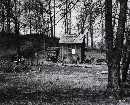 <p>Panoramic view of the homestead of a tenant farmer.</p>