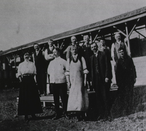 <p>Rupert Blue and staff members pose out-of-doors, ca. 1905.</p>