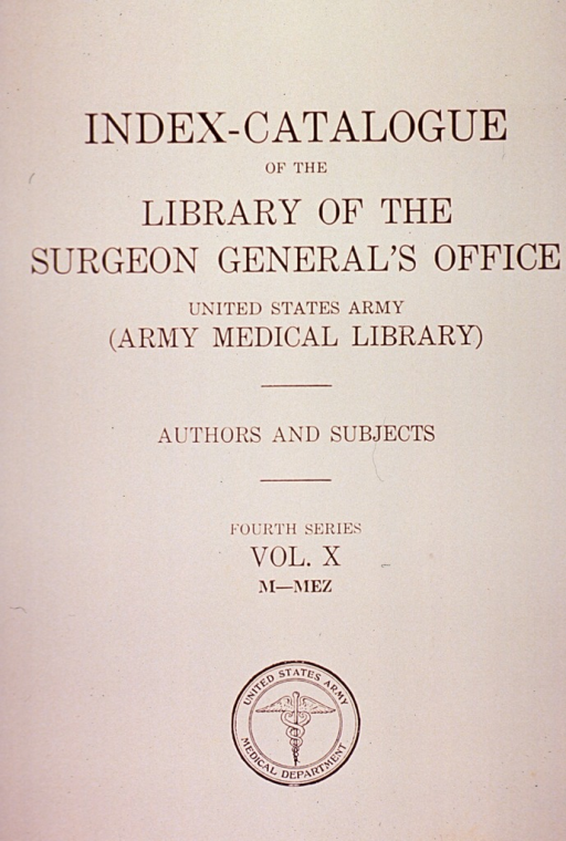 <p>Title page of the index-catalogue.</p>