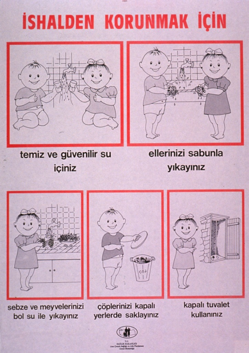 <p>Predominantly white poster with red and black lettering.  Title at top of poster deals with preventing diarrhea.  Visual images are illustrations depicting children taking steps to avoid illness, such as drinking clean water, washing hands with soap, washing vegetables and fruits before eating, keeping trash in a closed container, and keeping the door of the latrine closed.  Publisher information at bottom of poster.</p>
