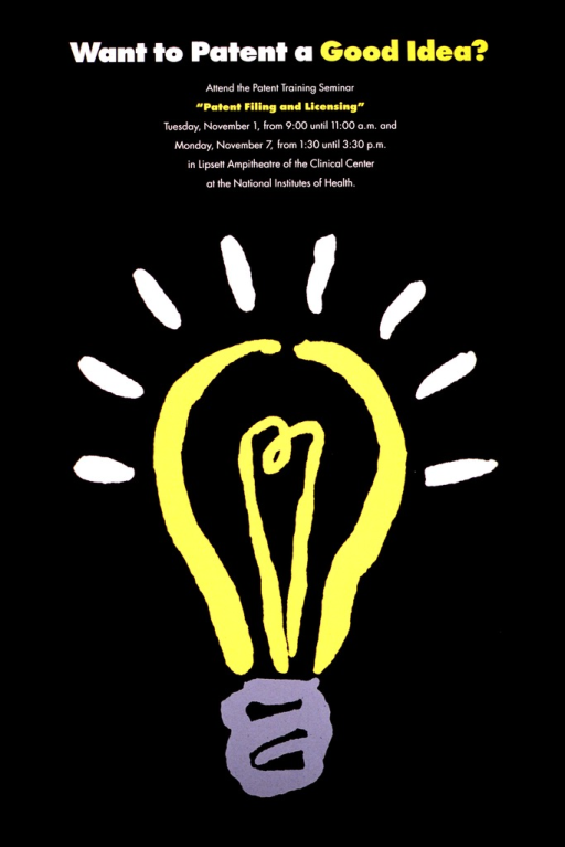 <p>The poster consists of a yellow light bulb with a gray base on a black background.  There are white rays coming from the light bulb.  The dates, times and location of the lecture are also given.</p>