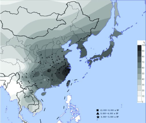 The distribution of the ADH1B*47His allele and the sites of early rice relics. The contour map of the ADH1B*47His frequency in East Asian populations and the ancient sites of rice domestication in China. The allele frequency data includes the 38 populations in the present study and those published before.[17]. The geographic locations of the rice sites are from the published data [5].