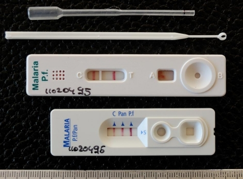 Two- and three-band (below) malaria rapid diagnostic tests (MRDTs) with blood transfer devices (pipette and loop). Control and test lines are cherry-red colored. The two-band MRDT (upper) displays a control line and a test line which targets P. falciparum-specific histidine-rich protein-2 (HRP-2) The three-band MRDT (below) displays a control line and two test lines, one targeting HRP-2 and another line targeting pan-parasite lactate dehydrogenase
