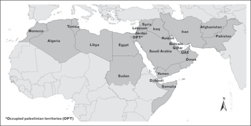 Map of the MENA region including the countries that are covered in this review. MENA, Middle East and North Africa. Reproduced with permission from [2].
