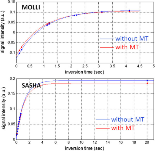The effect of magnetization transfer (MT) on the inversion recovery for native myocardial tissue using MOLLI (top) and on saturation recovery using SASHA (bottom). MT changes the shape of the inversion recovery causing a shorter apparent T1*. MT has insignificant effect on the saturation recovery using SASHA with a 3-parameter fit.