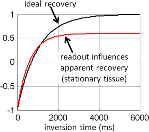 The apparent inversion recovery (T1*) is influenced by the SSFP readout. The effective inversion recovery is fit using a 3-parameter model, and the T1 is estimated using the so-called Look-Locker correction.