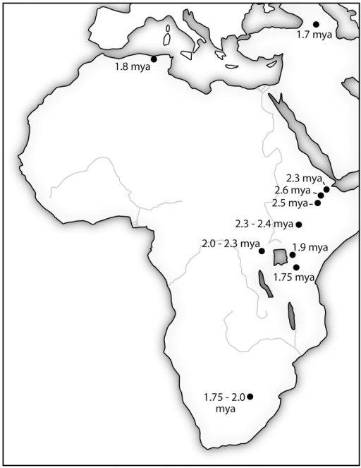 The location of stone tools manufactured using Oldowan Complex technology (•) are initially clustered in the East African Rift Valley. The expansion of the technology over nearly a million-year period coincides with increasing brain size in hominins. It is also consistent with an increasing general intelligence as indicated by adaptability to new environments. Sources: (Plummer, 2004; Schick and Toth, 2006; Semaw, 2006).