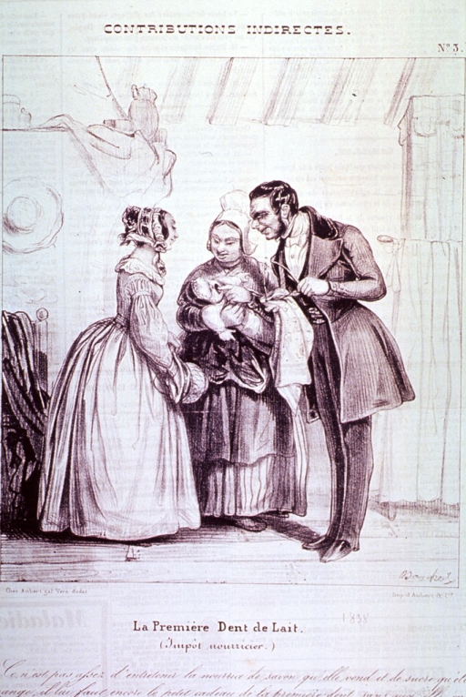 <p>An infant, held by a governess, receives the admiration of his/her parents upon the appearance of his/her first tooth.</p>