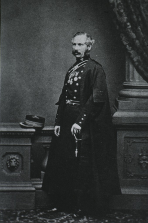 <p>Full length, standing, left pose; wearing uniform; hand on sword, decorated with medals.</p>