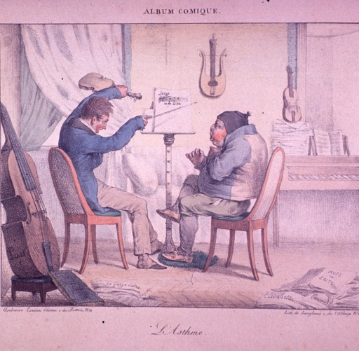<p>A man is waving a violin and bow sitting in front of a music stand; another man has his hand on his chest and is coughing.  A piano, string instruments and sheet music are in the background.  A cello is in the foreground.</p>