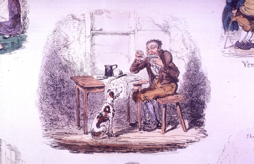 <p>A dog sits staring at a man who is eating at a table.</p>
