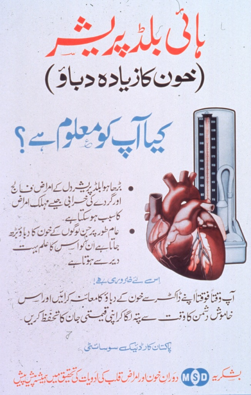 <p>Predominantly white poster with multicolor lettering.  Most lettering in Arabic script.  Visual image is an illustration of a heart and a blood pressure gauge.  The gauge is vertical and has a base, rather than a dial affixed to a cuff.  Sole non-Arabic text is &quot;MSD&quot; in a logo of overlapping circles.</p>