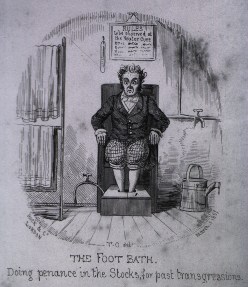 <p>A man sits in a chair with his feet in a box.  Above the chair is a sign titled: Rules to be observed at the water cure.  Towels are on racks.  A watering can is to the side of the chair.</p>