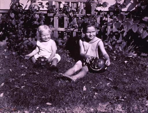 <p>Two children are sitting on the ground with a jack-o'-lantern.</p>