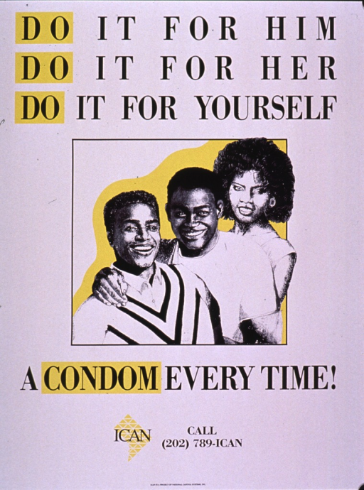 <p>Predominantly white poster with black lettering and yellow highlights.  Title in upper portion of poster.  Visual image is an illustration of two men and one woman.  Caption below illustration.  Publisher information at bottom of poster.</p>
