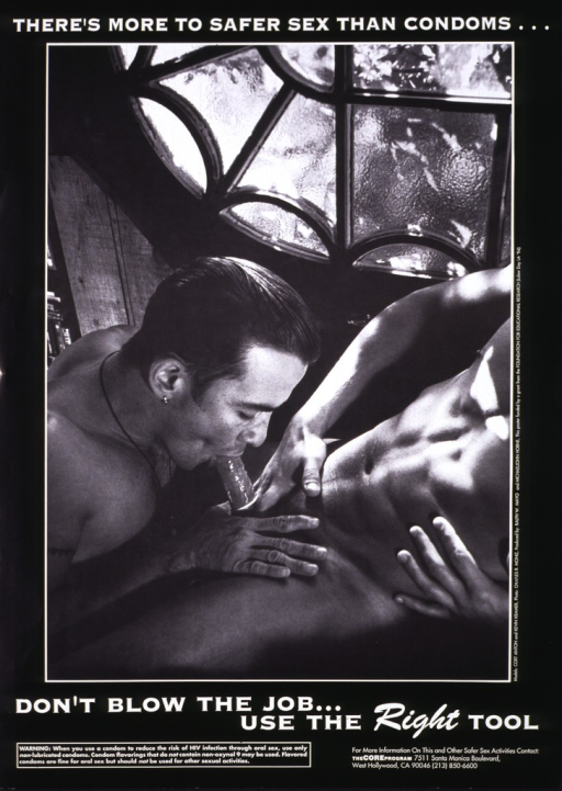 <p>Black and white poster illustrated with a photograph of two men engaging in oral sex and using a condom.  The address and telephone number of the Core Program are listed at the bottom.</p>