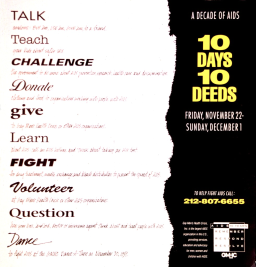 <p>Poster dominated by text.  Title and publisher information on right side of poster.  Left side lists the deeds, including talk, teach, challenge, donate, give, learn, fight, volunteer, question, and dance.</p>