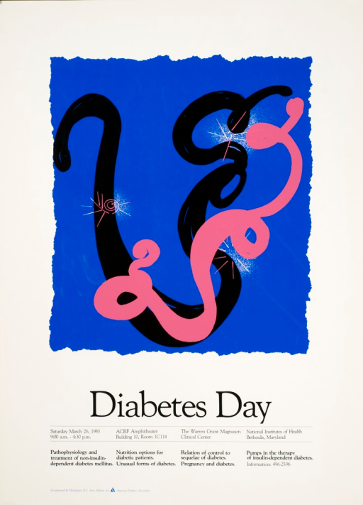 <p>Poster shows bursts of white with rays or branches among black and a pink lines that bend and curve in a caricature of the schematic structure of the human preproinsulin.</p>