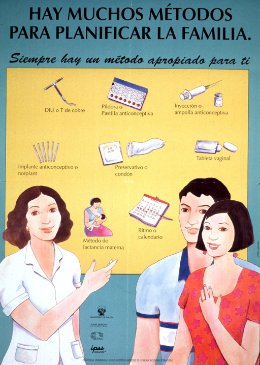 <p>Green and yellow poster with black lettering.  Title and note at top of poster stress that there are many family planning methods and to always have an appropriate method available.  Visual image is an illustration of a health worker pointing to a chart depicting contraceptive methods.  A man and woman stand together near the health worker.  The contraceptive methods include IUD, pill, injection, implant, condom, vaginal tablets, breastfeeding, and rhythm.  Publisher and sponsor information in lower portion of poster.</p>