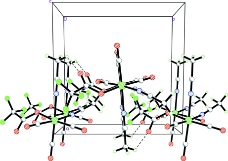 The crystal packing of the major component of (I), viewed down the c-axis. Intermolecular interactions are shown as dashed lines.