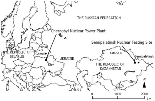 Locations around the Chernobyl Nuclear Power Plant (the Republic of Belarus, Ukraine, and the Russian Federation) and the Semipalatinsk Nuclear Testing Site (the Republic of Kazakhstan).