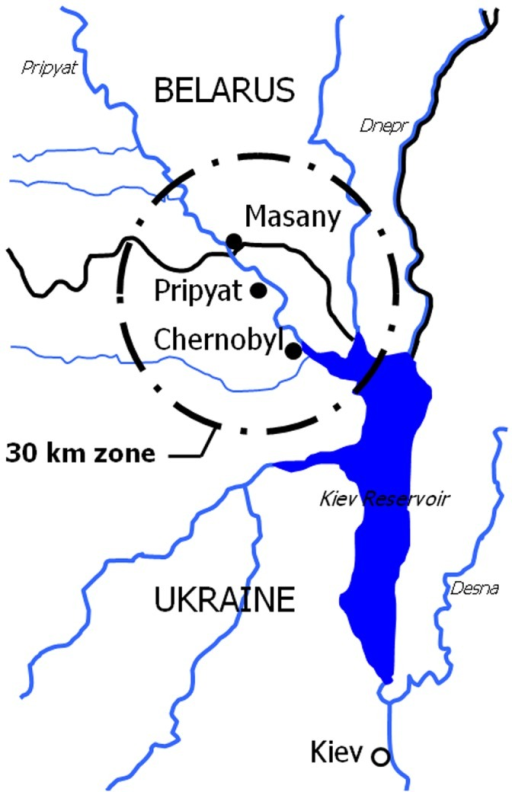 The 30-km zone around the Chernobyl Nuclear Power Plant.