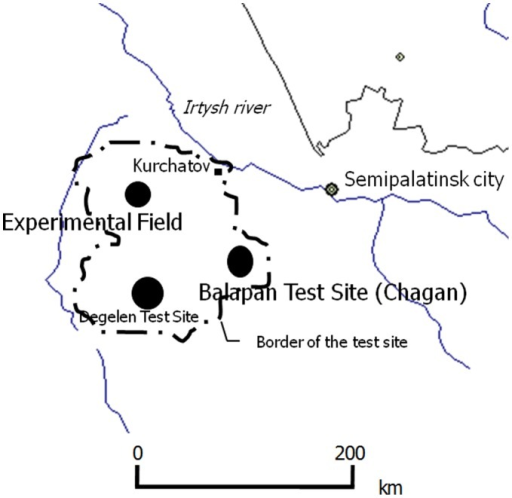 Test site around the Semipalatinsk Nuclear Testing Site.