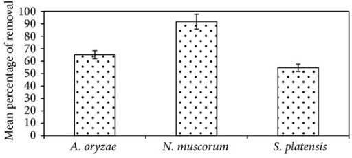 Efficiency of different algal strains to biodegrade malathion. Error bars represent the standard errors of the means.