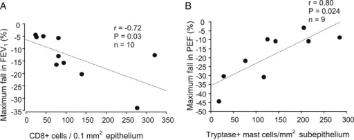 A, B, In subjects with asthma at d 4 after rhinovirus infection, correlations between maximum fall in FEV1 (%) and counts of epithelial CD8+ cells (A) and between maximum fall in PEF (%) and counts of subepithelial tryptase-positive mast cells (B) (Spearman rank correlation). PEF = peak expiratory flow.
