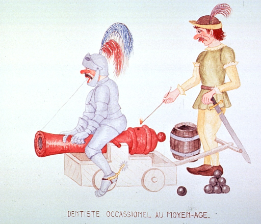 <p>Caricature:  A knight sitting on a cannon has one end of a string attached to a tooth and the other end attached to a cannon ball inside the cannon; another man (the dentist) stands ready to fire the cannon.</p>