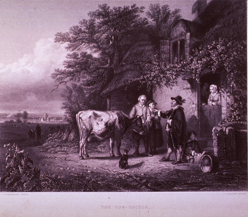 <p>Exterior of a peasant's home, showing the veterinarian examining a cow as the family looks on.</p>