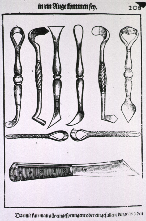 <p>Several types of tools for cutting and scraping during eye surgery.</p>