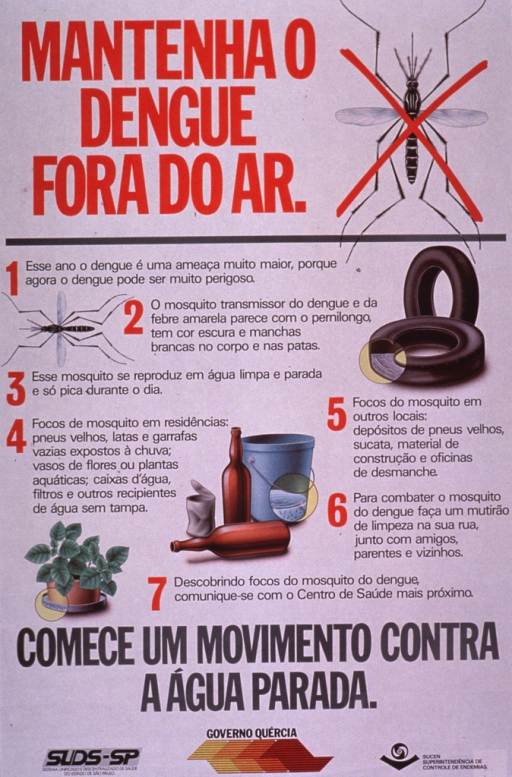 <p>Predominantly white poster with red and gray lettering.  Title at top of poster deals with keeping dengue out of the air.  An illustration of a giant mosquito, crossed out with a red &quot;x&quot;, appears to right of title.  Additional illustrations show another mosquito, tires, a bucket and some bottles, and a potted plant.  Areas of the inanimate objects likely to contain stagnant water and mosquito larvae are highlighted.  Text on poster explains the mosquito's role in disease transmission and ways to eliminate stagnant water.  Note urges beginning a campaign against stagnant water.  Publisher information at bottom of poster.</p>