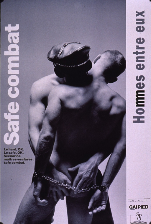 <p>Black and white poster showing a male-male couple facing each other. One of the men is naked and has his hands cuffed behind his back. The other man is embracing him and is wearing slacks and a hat. The title is along the sides of the poster and the caption and publishing information are toward the bottom of the poster.</p>