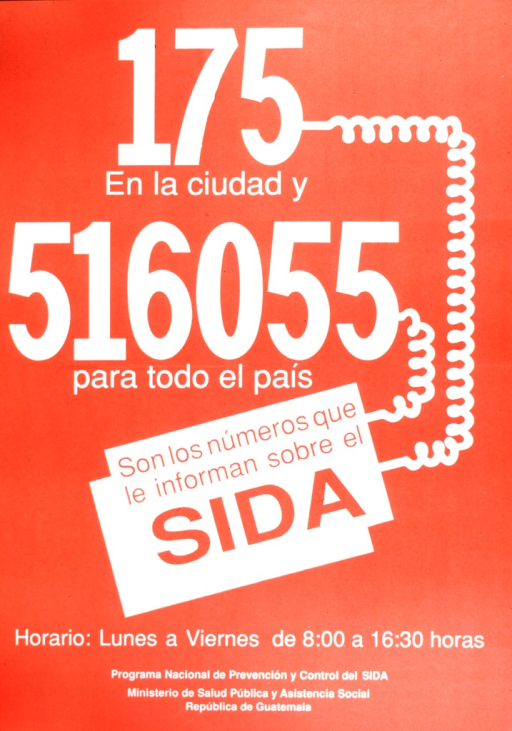 <p>Red and white poster advertising AIDS information hotline numbers.  Curly phone cords connect city and national phone numbers to text box containing second part of title.</p>