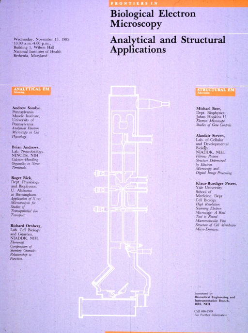 <p>The white outline of an electron microscope is in the center of the gray poster.  Some of the information given on the poster is against an orange background.  The date, time, and place of the lecture is given, along with a phone number for further information.  The poster also lists the institutions that the speakers are affiliated with.</p>
