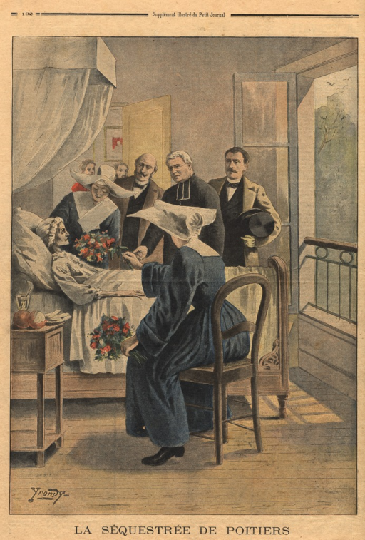 <p>Illustration of an actual event that took place in Poitiers. A young girl who had been imprisoned and starved by her family had been discovered by the authorities. The young woman, emaciated and with an ashen complexion, is shown resting in a hospital bed.  She stares blankly ahead of her, oblivious to her surroundings.  Nuns offer her flowers and a priest holds her hand.  Other people are shown watching with concern.</p>