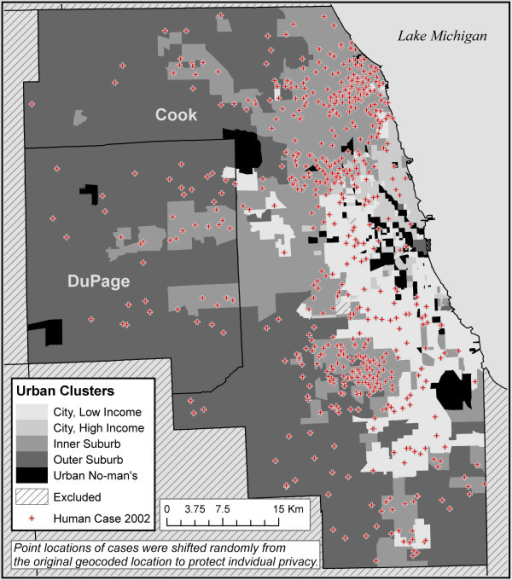Five urban classes in the Chicago region and WNV illness human cases in 2002.