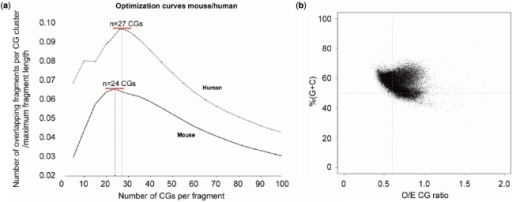 The mouse genome has different CG clustering characteristics than those of the human genome. The optimization curve characteristics for mouse are clearly different from those for human (a). The optimal mouse annotation contains fragments no longer than 585 nt with 24 or more CGs per fragment, fewer CGs in a longer stretch of DNA than for the human genome. In panel (b) it is again apparent that base composition criteria alone will fail to recognize a substantial proportion of CG-dense loci in this species.
