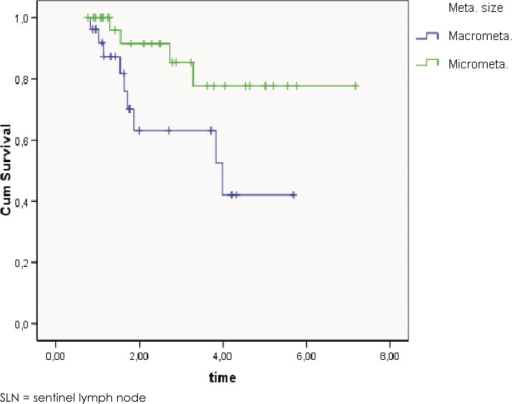 The log rank test of Kaplan-Meier overall survival curves for patients with SLN micrometastases compared to patients with SLN macrometastases (p = 0.032).