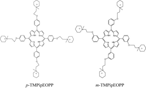 The chemical structures of p-TMPipEOPP and m-TMPipEOPP.