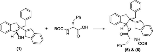 Chemical separation of enantiomers (2) and (3): formations of N-BOC D-phenylalanine derivative of compounds (5) and (6).